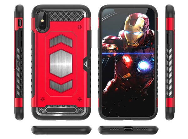 iPhone X Rugged Armor Magnetic Case With Hidden Side Card Holder